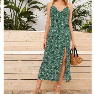 Dress Split Thigh Dalmatian Print Slip Maxi LG NEW